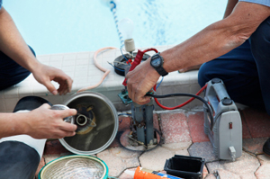 Clear Solutions Pool Services showcasing what Swimming Pool Repairs can look like via a motor needing fixed
